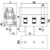 MV273-7.5-V Κάθετη κλέμα πλακέτας 3 πόλων ύψους 16 mm-245